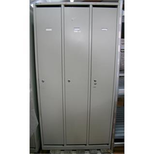 Garderobenschrank 3-türig metall grau