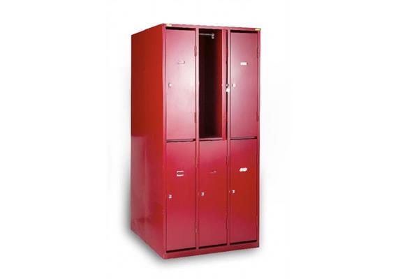 Garderobenschrank 6-türig (in Höhe halbiert) rot